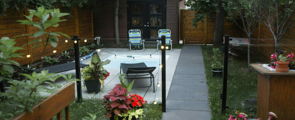 Home backyard with swimming pool and plants native to the area, backyard ideas for small homes.